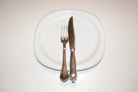 placement of fork and knife when finished eating (same as dessert fork and spoon)